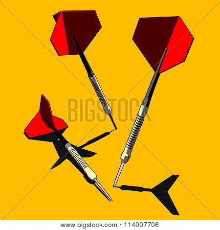Red And Gold Darts On Orange Background