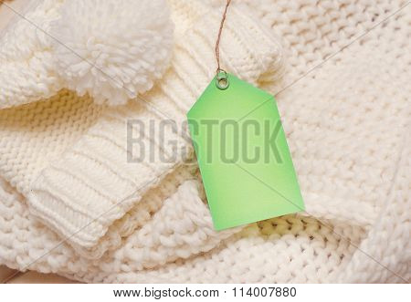 Empty Shopping Tag Card Template Knitting Background