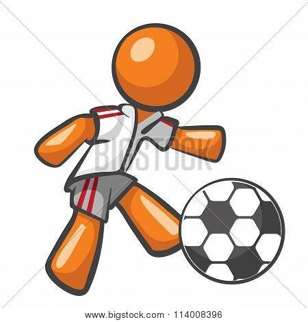 Orange Man Playing Soccer