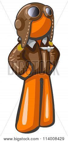 Orange Man Aviator Pilot