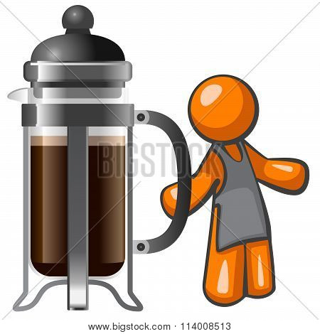 Orange Man With Large French Press