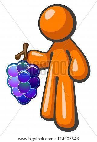 Orange Man Holding Grape Bunch