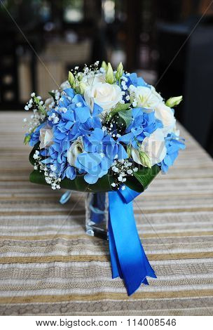 Blue Wedding Bridal Bouquet Of Hydrangeas