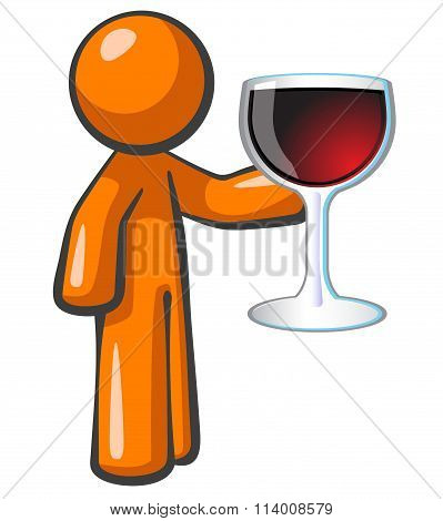 Orange Man With Glass Of Wine