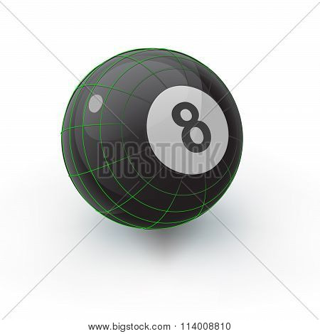 Glossy Eight Ball With Geometry Lines