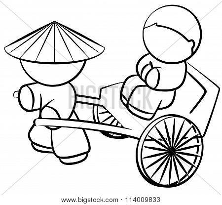 Line Drawing Of Chinese Rickshaw