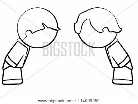 Line Drawing Of Business Men Bowing