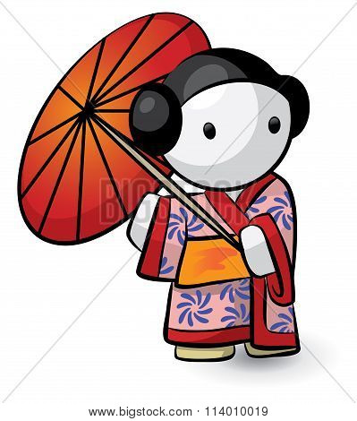 Geisha Holding Umbrella In Kimono Looking Cute