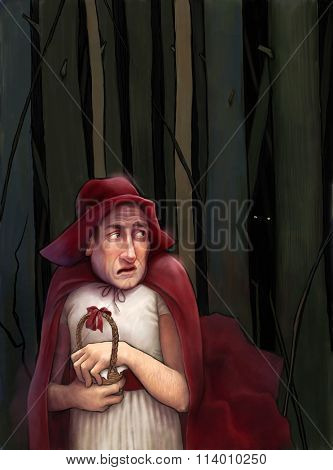 The illustration of an adult man dressed as Little Red Riding Hood walking through the dark forest.