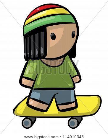 Rasta Kid On Skateboard