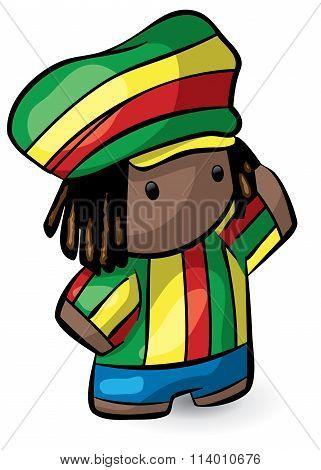 Rasta Hat Rastafarian Cute Dreadlocks Character