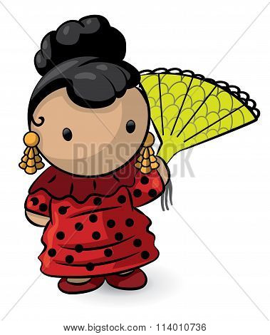 Spanish Girl With Fan