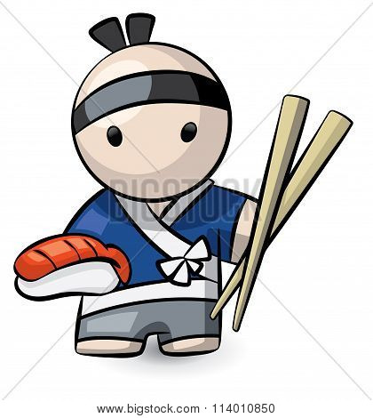 Sushi Chef Holding Large Chopsticks And Food