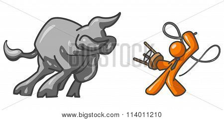 Orange Man Bull Tamer