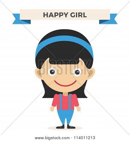 Cute little girl cute vector illustration