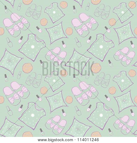 Vector Green Pajama Party Movie Night Seamless Pattern. Slippers, pillows and snacks.