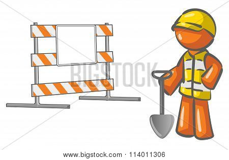 Under Construction Orange Man Roadblock