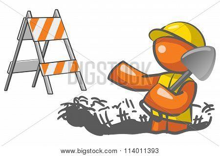 Under Construction Orange Man Digging