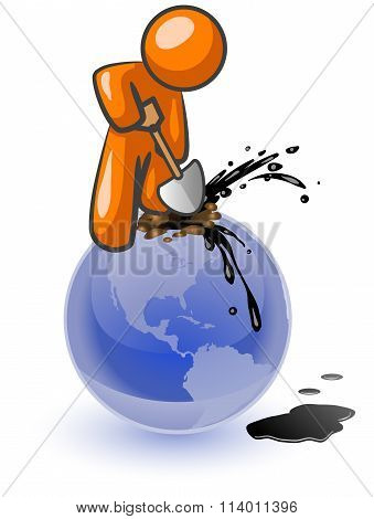 Orange Man Digging Oil
