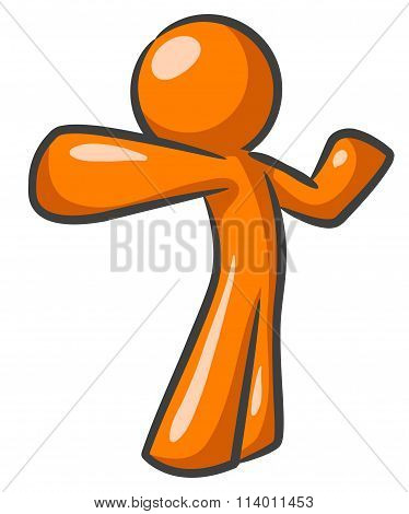 Orange Man Dynamic Punch Pose