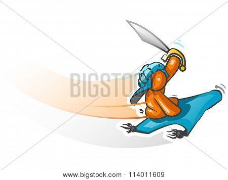 Orange Man Flying Carpet