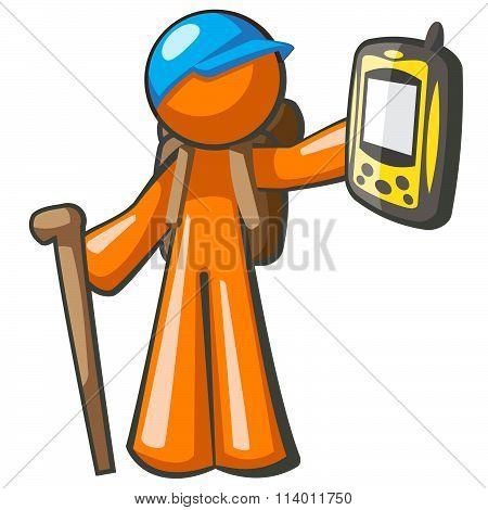 Orange Man Backpacker With Gps