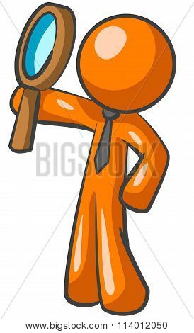 Orange Man Magnifying Glass Looking Up