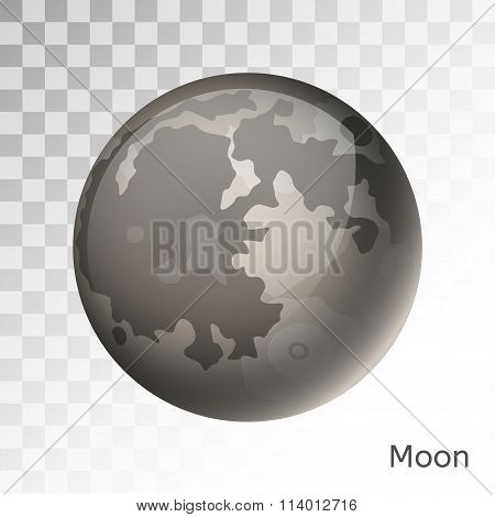 Moon planet 3d vector illustration