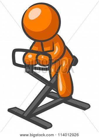Orange Man Work Out Bike