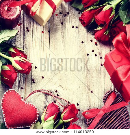 St Valentines Frame With Bouquet Of Red Roses, Decorative Hearts And Presents
