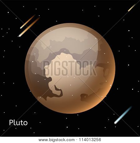 Pluto planet 3d vector illustration