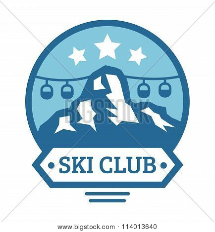Ski resort logo emblems, labels badges vector elements