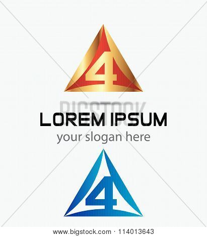 Abstract icons for number 4 logo