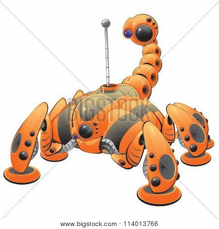 Orange Internet Web Crawler Robot Concept