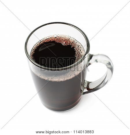 Glass mug filled with mulled wine isolated