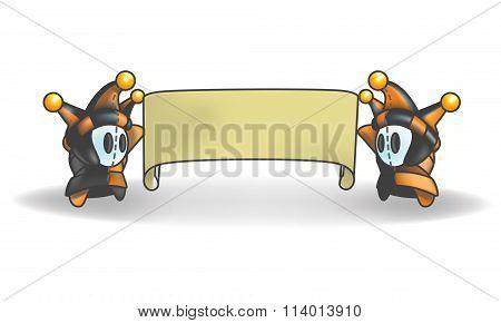 Little Jester Man Character Holding Banner