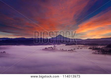 Mount Hood Foggy Landscape At Dawn