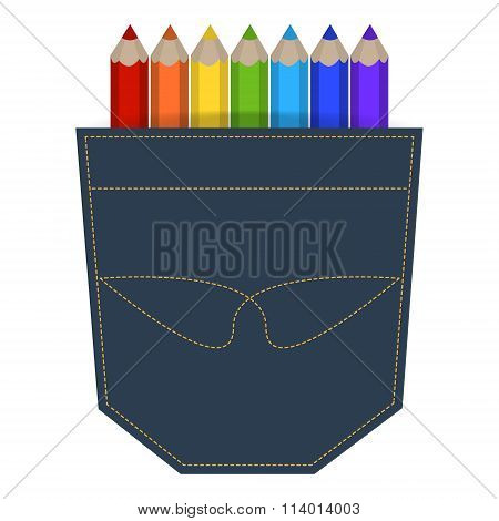 Illustration Of Colored Pencils In A Jeans Pocket