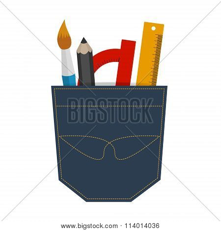 Illustration Of A Brush, Pencil, Protractor And Ruler In Jeans Pocket