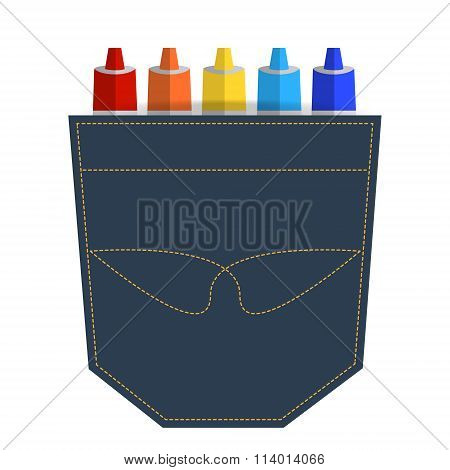 Drawing Tubes Of Paint In Jeans Pocket