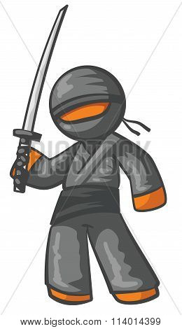 Orange Person Ninja Posing With Swords