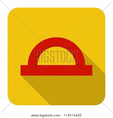 Icon Of Protractor In Flat Design