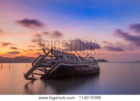 Abandoned Fishing Boat At Sunset, Thailand.
