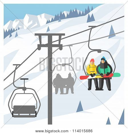 Snowboarder sitting in ski gondola and lift elevators. Winter sport resort background