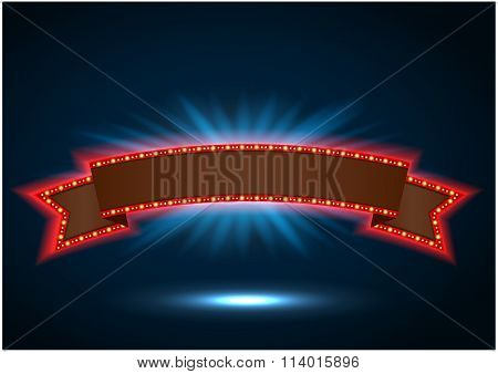 Ribbon retro background light banner with light bulbs on the contour