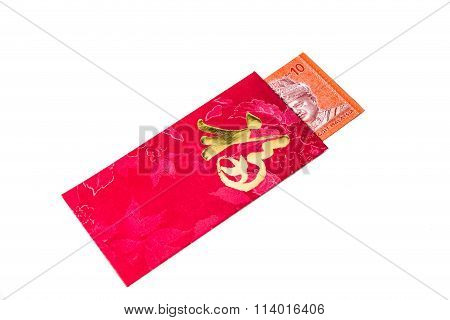 Red Packet With Good Fortune Character Contains Malaysia Ringgit Currency