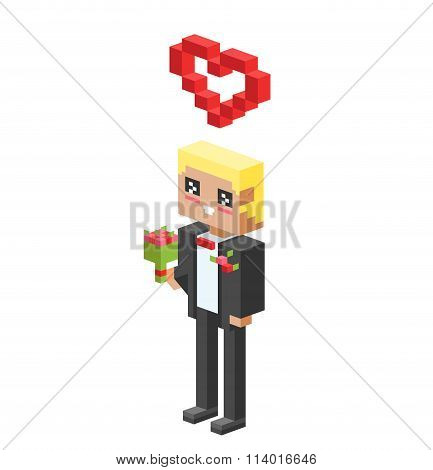 Cute cartoon boy with heart vector illustration