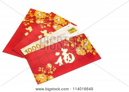 Red Packet With Good Fortune Character Contains Hong Kong Dollars