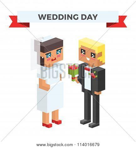 Wedding 3d couples cartoon style vector illustration