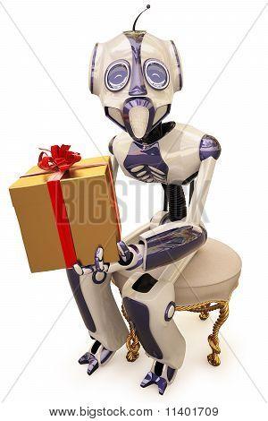 Roboter und Geschenk